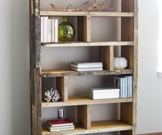 Wooden Pallet Furniture DIY Crates and Pallet Bookshelf More - Learn how to build a DIY rustic bookshelf with crates and reclaimed pallets with this tutorial and free building plans by Jen Woodhouse. Pallet Shelves, Pallet Decor, Bookshelves Diy, Bookshelf Design, Homemade Bookshelves, Diy Bookshelf Plans, Wooden Pallet Furniture, Furniture Projects, Wooden Diy