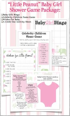 Little Peanut Baby Girl Shower Games Package  DIY by TheAffairShop, $12.50