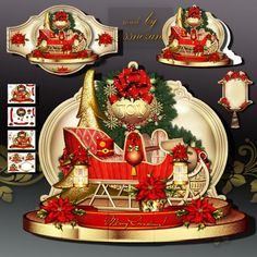 Christmas Gift Sleigh with Red Poinsettias on Craftsuprint designed by Atlic Snezana - Christmas Gift Sleigh with Red Poinsettias: 4 sheets for print with decoupage for 3D effect plus few sentiment tags (for your own personal text) - Now available for download!
