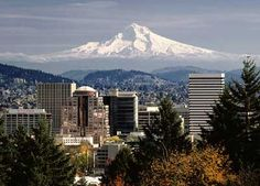 Portland Oregon with Mt Hood