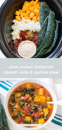 A simple and delicious plant-based meal, Slow Cooker Butternut Squash, Kale & Quinoa Stew is hearty, nourishing and packed with all the good stuff. This recipe is gluten-free, dairy-free, and vegan!#realfoodwholelife #realfoodwholeliferecipe #recipe #mealprep #glutenfree #dairyfree #healthy #healthyrecipe #easyrecipe #quickrecipe #lunch #mayofree #nutfree #eggfree Plant Based Meals, Vegan Recipes Plant Based, Plant Based Diet, Veggie Recipes, Healthy Soup Recipes, Healthy Soup Vegetarian, Healthy Cooking, Whole Food Recipes, Vegetarian Recipes