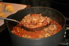 Paula Deen's Goulash  *I don't use salt, oregano or italian seasoning; substitute Ms.Salt or other spices and used Worcheshire sauce instead of soy sauce     http://asoutherngirl.com/paula-deens-goulash-the-best-ever/