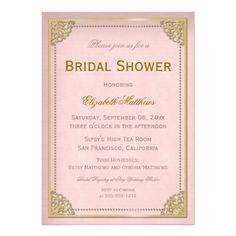 Elegant Vintage Cornice Pink Gold Bridal Shower Custom Invites,  $2.15