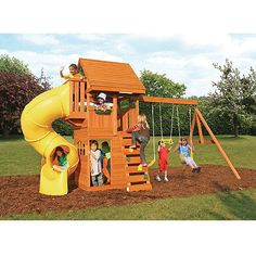 Cedar Summit Grandview Deluxe Cedar Wooden Play Swing Set...available from Costco! this is hopefully our kid's 2012 Christmas Present....what a great way to spend time with friends down in the yard while the parents watch from our Patio inspired by Jamie Durie!