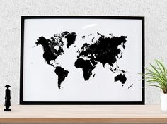 "World map, Black and White poster, large world map print, world map art, 24x36"", Minimalist style, Home decor, School or Office wall art"