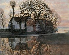 This landscape painting by Piet Mondrian is good example of pattern in art. I remember learning that Mondrian focused a lot on reducing the patterns he observed in nature into his paintings. Piet Mondrian, Mondrian Kunst, Art And Illustration, Landscape Art, Landscape Paintings, Ouvrages D'art, Dutch Painters, Arte Popular, Dutch Artists