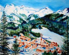 St Moritz Switzerland Original Oil Painting 16 x 20 by BrandanC