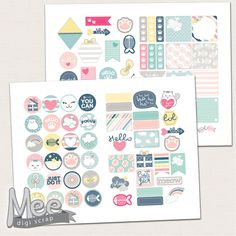 Pastel planner stickers printable,White cat planner stickers,Cute decorative planner stickers,various sizes,personal planner stickers by MeeDigiScrap on Etsy
