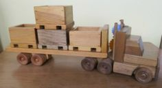 Amish Handmade Skid Loader Tractor Trailer Toy Flatbed Wood Wooden Truck Crates