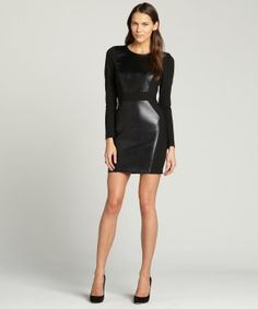 Single black leather accent 'Gwen' long sleeve dress
