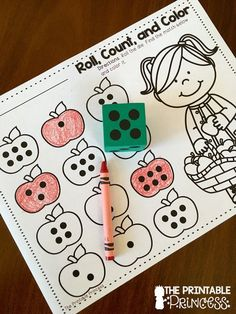 Fun for Kindergarten A fun no-prep activity! Roll the die and color the apple with the matching number of dots.A fun no-prep activity! Roll the die and color the apple with the matching number of dots. Kindergarten Centers, Kindergarten Classroom, Math Centers, Elementary Teacher, Kindergarten Apple Theme, Number Sense Kindergarten, Fall Preschool, Math Activities, Preschool Activities