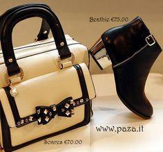 Autunno 2013! Scarpe modello tronchetti neri con tacco specchiato e borsa in ecopelle colore nude con fiocco e borchie Borsa http://www.paza.it/produkt/7449,soares-beige-bag Scarpe http://www.paza.it/produkt/7203,beathie-black-boots