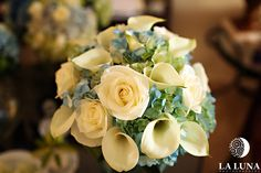 Calla Lilly, Blue Hydrangea, White Roses & banana leaves