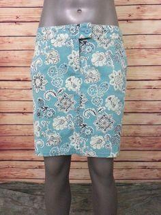 Ann Taylor LOFT pencil skirt blue foral above knee womens size 6 cotton stretch #AnnTaylorLOFT #StraightPencil
