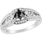 3/4 Carat T.W. Black and White Diamond Sterling Silver Engageme…  $259.00