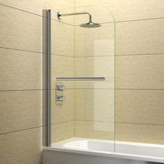 Shop 800 x 1400 mm Luxury Bath Shower Glass Bathroom Screen with Chrome Towel Rail. Free delivery on eligible orders of or more. Small Bathroom With Bath, Loft Bathroom, Glass Bathroom, Bathroom Toilets, Bathroom Renos, Glass Shower, Bathroom Ideas, Seaside Bathroom, Bathroom Tiling