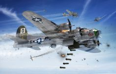 Boeing B-17G Flying Fortress 'Skyway Chariot' Airfix boxart by Adam Tooby - 'Skyway Chariot', which flew with the 351st Bomb Squadron, 100th Bomb Group, US Eighth Air Force, from Thorpe Abbots airfield in Norfolk. was lost on a mission to Berlin on 18.03.45, after coming under concerted attack from a number of Me 262's.