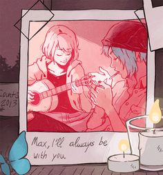life is strange, max caulfield, chloe price, candles, blue butterfly, guitar, polaroid, cigarette, blue hair, hipster, video game, pico kun.