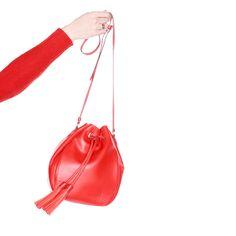 J.Crew Gift Guide: women's tassel-tie bucket bag in smooth leather.