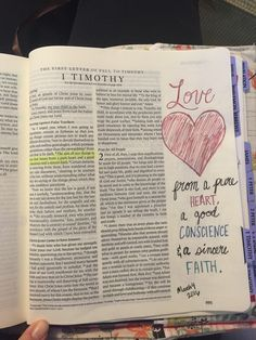 1 Timothy 1:5. Love from a pure heart, a good conscience, and a sincere faith. -Audrey