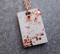 Rose gold glitter concrete necklace / rose gold necklace