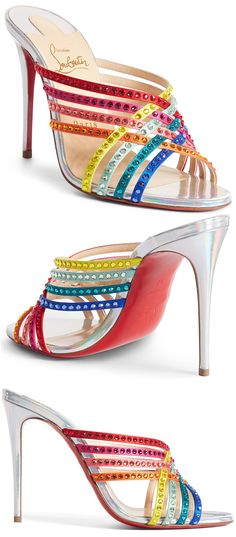 Christian Louboutin Rainbow Crystal Shoes. Bejeweled silk straps intersect in a spectrum of colors at the front of a cheerful slide sandal bearing an iconic red sole. Fun Shoes for the Kentucky Derby. Spring Wedding Mother of the Bride Shoes. What to wear for a Spring Wedding. Shoes with Crystals. Rainbow Fashion. Bright outfits. Colorful Kentucky Derby Outfit ideas. #shoes #shoesday
