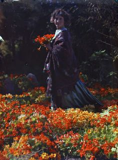 A few autochromes, 1914-1920, by Santa Barbara photographer Edwin Gledhill. This one is of his wife Carolyn, who was also an accomplished photographer