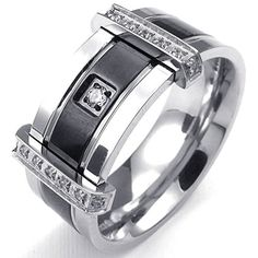 KONOV Jewelry Mens Cubic Zirconia Stainless Steel Ring, Charm Elegant Wedding Band, Black Silver, Size 8 KONOV Jewelry http://www.amazon.com/dp/B00MRT3CVQ/ref=cm_sw_r_pi_dp_ta7cub1J2AZX7