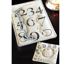Decoupage tray w/ numbers $29