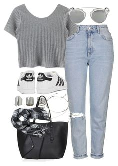 """Outfit for spring with mom jeans"" by ferned ❤ liked on Polyvore featuring Topshop, Christian Dior, adidas Originals, H&M and Forever 21"