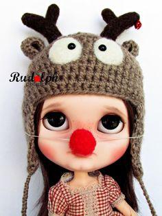 Rudolph hat for Blythe por Poopoopido en Etsy