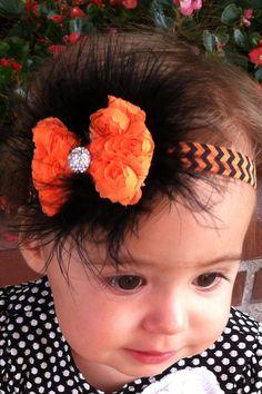 Halloween Bow & Fur Headband on Etsy, $15.95