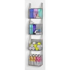 Amazon.com: 4 Basket Vertical Storage Rack Color: Pewter: Home & Kitchen
