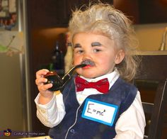 Lori: This is a picture of my daughter (18 months) dressed as Albert Einstein. To achieve this look we bought a fake pipe, sweater vest, bow tie, baby powder (for hair)...