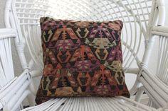 Kurdish Kilim Pillow 16X16 kilim pillow vintage kilim pillow cover 16x16 turkish pillow cushion cover geometric pillow cover boho pillow 143