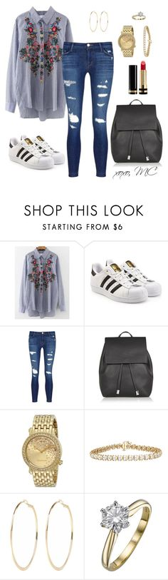 """""""Casual Cute Outfit"""" by micahmae24 ❤ liked on Polyvore featuring WithChic, adidas Originals, J Brand, Topshop, Juicy Couture, River Island and Gucci"""