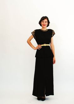 Vintage 1940s Dress - 40s Evening Gown - Black and Gold. $168.00, via Etsy.