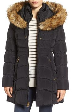 Laundry by Shelli Segal Hooded Down & Feather Fill Coat with Detachable Faux Fur Trim available at #Nordstrom