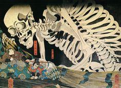 Utagawa Kuniyoshi - Mitsukuni Defies the Skeleton-spectre Conjoured up by Princess Takiyasha