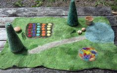 beautiful felted wool playmat, love the flowerbed and trees