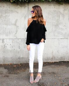 7c478b9ae2dc 11 Best Black cold shoulder top outfit images in 2017 | Black cold ...