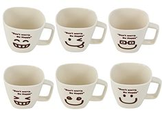 Southern Homewares Don't Worry Be Happy Man Ceramic Tea Cup Coffee Mug Smiley Face, 9.5-Ounce, Off-White, Set of 6 Southern Homewares http://www.amazon.com/dp/B00TSNADF2/ref=cm_sw_r_pi_dp_l-BFvb1ZP0K7D