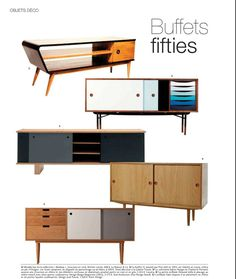 Mid Century Modern furniture.  Interesting, the blue and white one matches my business cards.