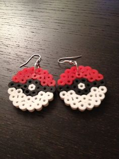 Poke Ball Earrings Perler Beads Pokemon anime by SongbirdBeauty, $4.00