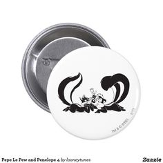 Pepe Le Pew and Penelope 4 2 Inch Round Button cat. Regalos, Gifts.