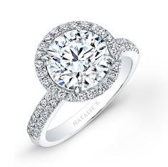 18k White Gold Pave Halo Diamond Engagement Ring NK26767-W  #diamond #ring #engagement #wedding