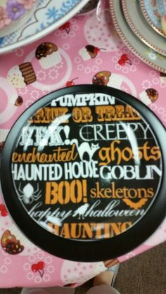Halloween Words plate