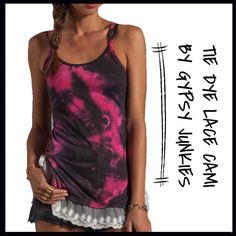 Gypsy Junkies Tie-Dye Tank Gypsy Junkies is the embodiment of the boho attitude with a touch of edginess. Designs find inspiration in world travels and encounters with luxurious textiles and rich culture, qualities that give each piece a unique flow and elegance. 65% poly , 35% cotton Hand wash cold Lace trimmed hem Gypsy Junkies Tops