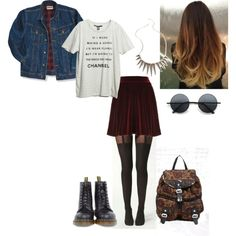 """""""swelling"""" by daisyday on Polyvore----love the skirt, tights and necklace!"""