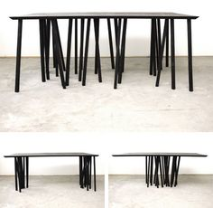 Take a straight rectangular tabletop, add a touch of star-inspired chaos, and voila: a modular flexible-legged table design.